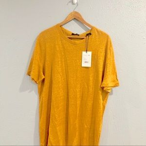 "Theory | ""Sunset"" Yellow Linen Short Sleeve Top"